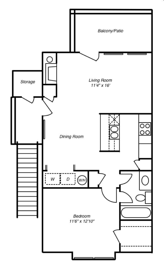 1 and 2 Bedroom Apartment Layouts | Courtyard Apartments and Storage