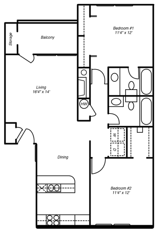 1 and 2 Bedroom Apartment Layouts | Courtyard Apartments ...